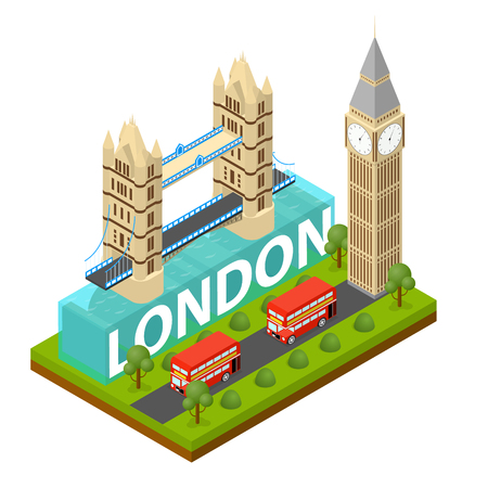 London City Famous Landmark of Capital England Symbol Britain Travel Business Concept Isometric View. Vector illustration of English Panorama Monument