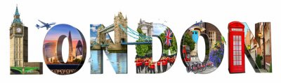 London city landmarks. Word illustration of most famous London monuments and places.