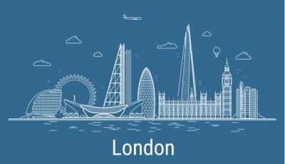 London city line art Vector illustration with all famous buildings. Cityscape.
