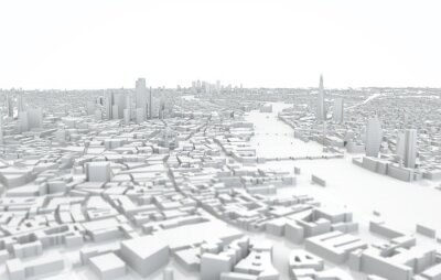 London city map 3D Rendering. Aerial satellite view.