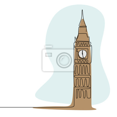 London City of Westminster Big Ben clock tower continuous line drawing minimalism style with colors vector illustration.