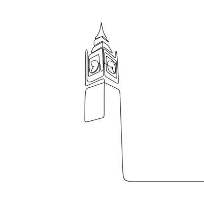 Sticker London City of Westminster Big Ben clock tower one line drawing minimalist design