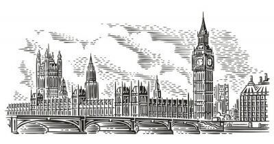 Sticker London Cityscape Vector Illustration, engraving style. Westminster Palace, Westminster Bridge, Elizabeth tower (Big Ben). Isolated. (Sky background in separate layer).