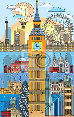 London colorful line art 10