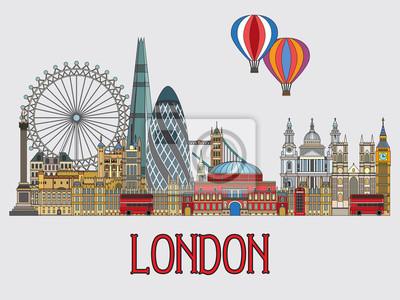 London colorful line art 2
