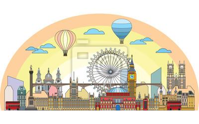 London colorful line art 3