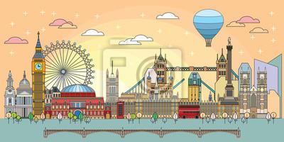London colorful line art 5