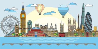 London colorful line art 9