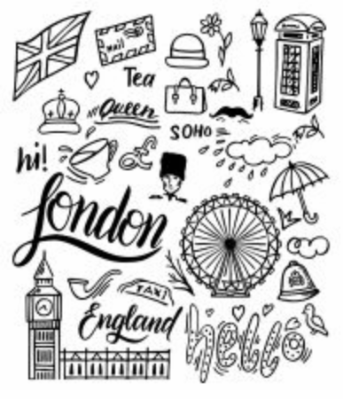 London doodle set. Landmarks, architecture and traditional symbols of English culture