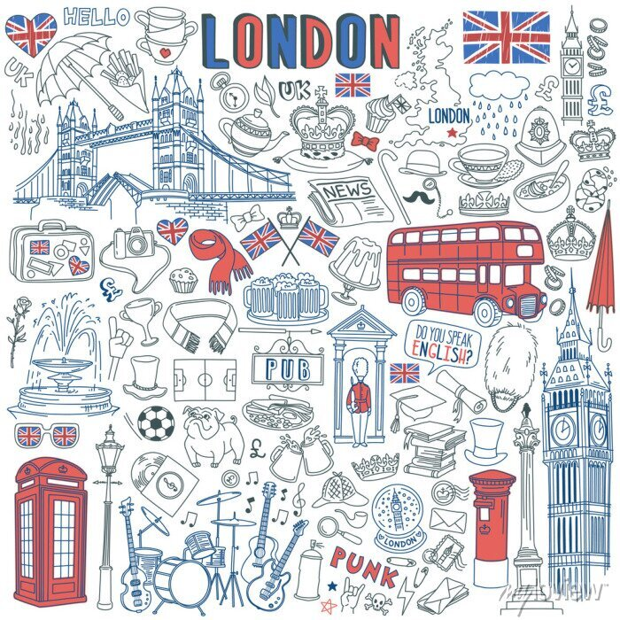 Sticker London doodle set. Landmarks, architecture and traditional symbols of English culture - Big Ben, Tower Bridge, Royal crown, red telephone box, Union Jack. Vector illustration isolated on background
