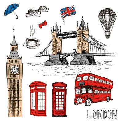 Sticker London Doodles. Gezeichnete Illustration des Vektors Hand mit London-Symbolen