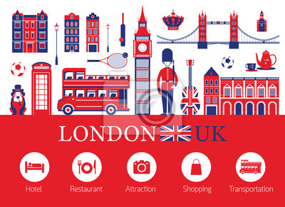 London, England and Travel Accommodation Icons