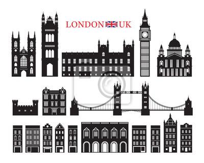 London, England and United Kingdom Building Landmarks Silhouette