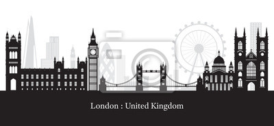 London, England and United Kingdom Landmarks Skyline Silhouette