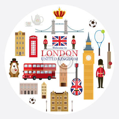 London, England and United Kingdom Tourist Attractions Label