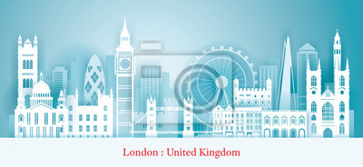 London, England Landmarks Skyline Paper Cutting Style