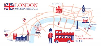 Sticker London, England Travel and Tourist Attraction Map