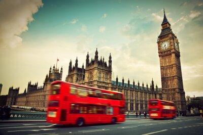 Sticker London, Großbritannien. Roter Bus in Bewegung und Big Ben