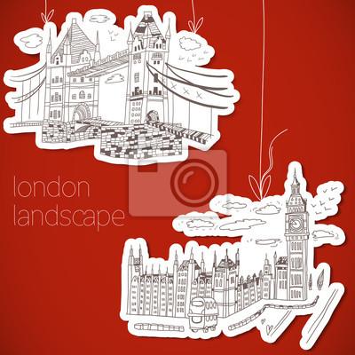 London handgezeichneten Landschaft im Vintage-Stil