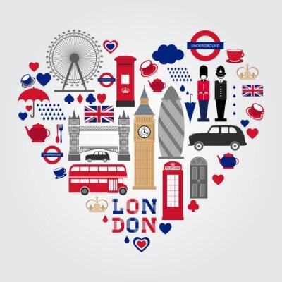 Sticker London Hearth Symbole Set. UK Icon Sammlung.