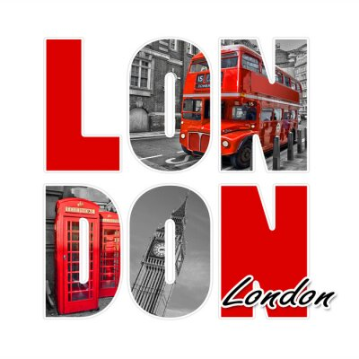 Sticker London isoliert auf weiß