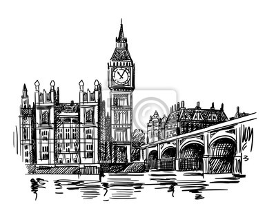 London Landmark Big Ben Tower sketch