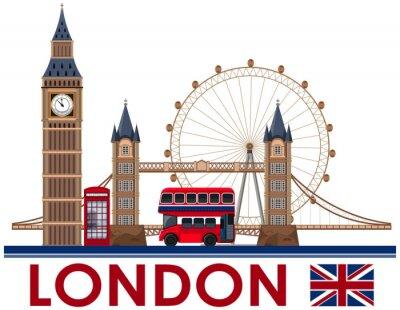 Sticker London-Markstein auf weißem Hintergrund