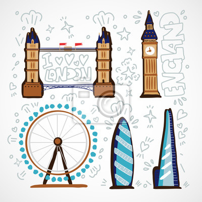 London Skyline abstract Vector illustration with british architectural monuments and buildings. London skyline cartoon illustration.
