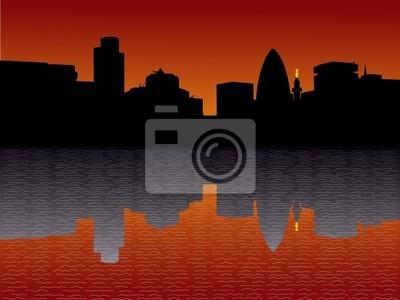 London Skyline bei Sonnenuntergang Illustration