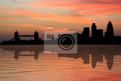 London Skyline bei Sonnenuntergang mit schönen Himmel Illustration