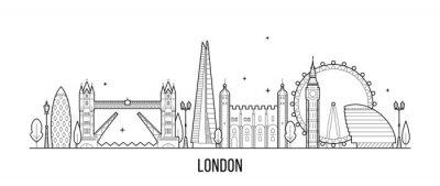 Sticker London skyline, England, UK city buildings vector