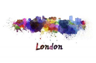 Sticker London Skyline in Wasserfarbe