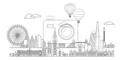 London skyline line art 6