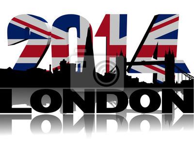 London-Skyline mit 2014 Flagge Text Illustration