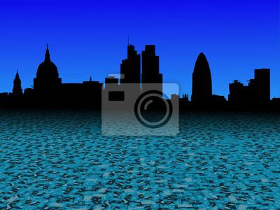 London Skyline mit abstrakten Pfund Währung Vordergrund Illustration