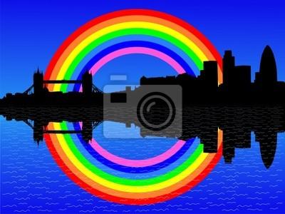London Skyline mit bunten Regenbogen illustration