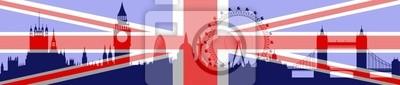 London-Skyline mit Flagge - Vektor