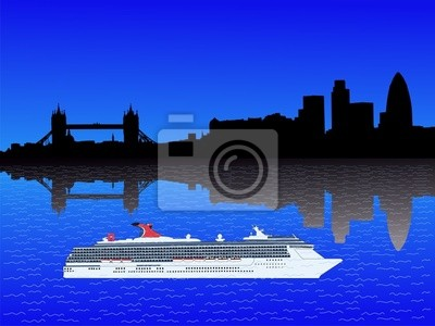 London Skyline mit Kreuzfahrtschiff über die Themse illustration