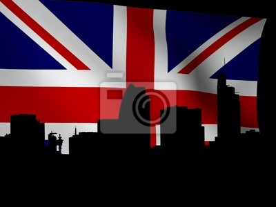 London Skyline mit rippled Flagge illustration