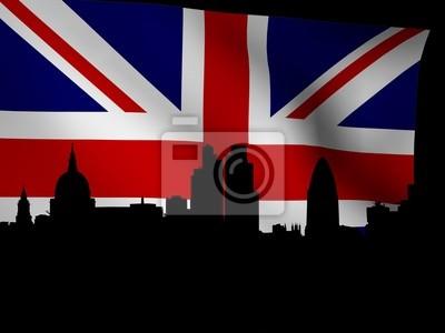 London-Skyline mit rippled Flagge illustration