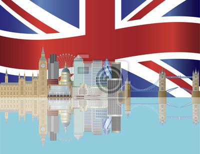 London Skyline mit Union Jack-Flagge Illustration