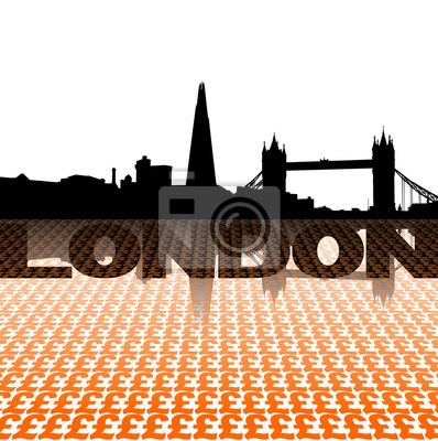 London skyline reflected with Pound symbols illustration