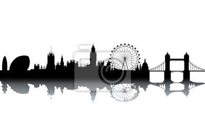 London Skyline - schwarz und weiß Vektor-Illustration