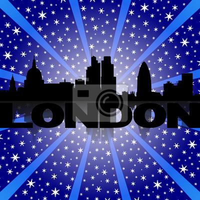 London Skyline spiegelt mit Schnee Burst-Illustration