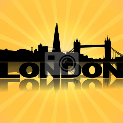 London Skyline spiegelt mit Sunburst Illustration