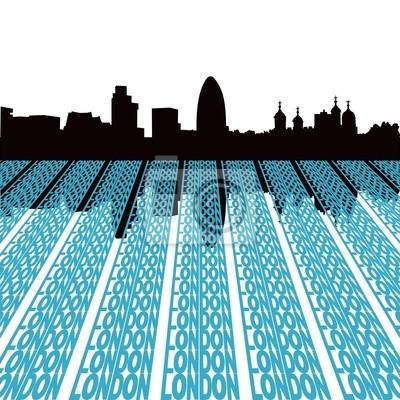 London Skyline spiegelt mit Text illustration