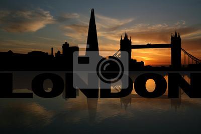 London Skyline spiegelt mit Text und Sonnenuntergang Illustration
