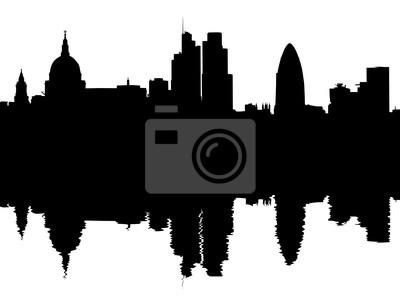 London Skyline spiegelt mit Wellen Illustration