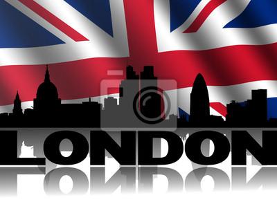 London Skyline spiegelt Text mit britischer Flagge Illustration