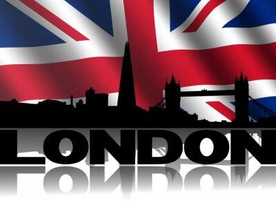 London Skyline Text rippled britische Flagge illustration
